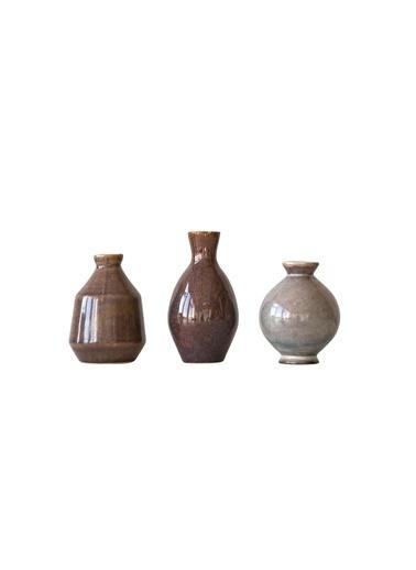 Warm Design 3'Lü Set Seramik Vazolar  Kahve